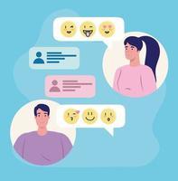 applicazione di servizi di incontri online con persone in chat vettore