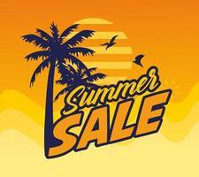 banner di vendita estiva con palme vettore