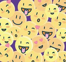 sfondo di emoji, icone di facce gialle vettore