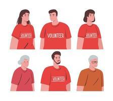 persone di volontariato con il concetto di donazione di vecchia coppia, beneficenza e assistenza sociale vettore
