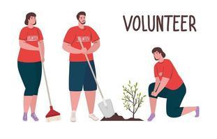 volontari che piantano un albero, concetto di stile di vita ecologico vettore