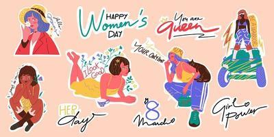 pacchetto di adesivi per l'empowerment delle donne. illustrazione vettoriale disegnato a mano. raccolta di adesivi. 8 marzo, set di icone del giorno della donna felice.