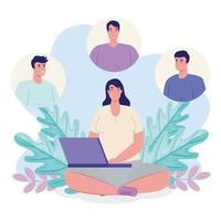 applicazione di servizio di dating online con donna con laptop e profili maschili vettore