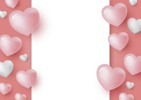 Cuori 3d e carta bianca in bianco su sfondo di colore corallo per San Valentino e illustrazione di vettore di carta di nozze