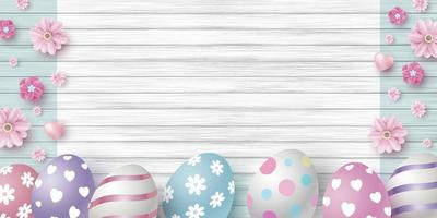 progettazione di giorno di pasqua delle uova e dei fiori sull'illustrazione di vettore del fondo di struttura di legno bianco