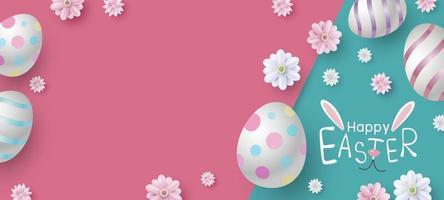 Pasqua banner design di uova e fiori su carta a colori illustrazione vettoriale