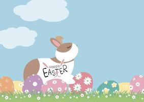 disegno di giorno di Pasqua di coniglio e uova con fiori su erba illustrazione vettoriale