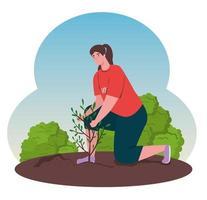 donna volontaria che pianta un albero, concetto di stile di vita ecologico vettore