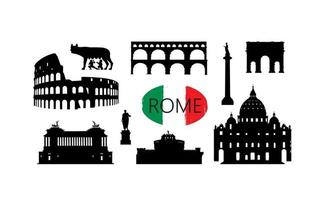 set di punti di riferimento di viaggio a roma. luoghi famosi italiani silhouette icone. vettore