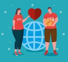 coppia di volontari con globo e cuore, beneficenza e concetto di donazione di assistenza sociale vettore