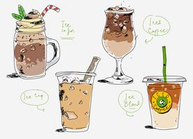 Illustrazione disegnata a mano di vettore del menu del caffè del caffè ghiacciato