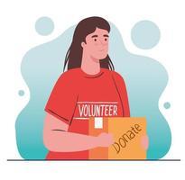 donna volontaria che tiene una borsa di donazione, la carità e il concetto di donazione di assistenza sociale vettore