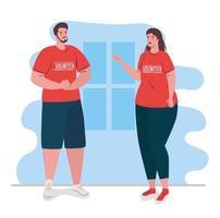 coppia di volontari che indossa camicie rosse, beneficenza e concetto di donazione di assistenza sociale vettore