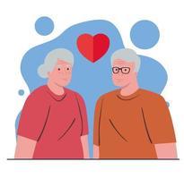 coppia di anziani innamorati vettore