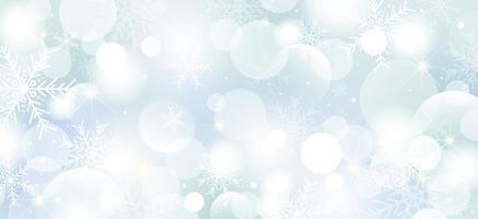 Natale sfondo design di fiocchi di neve e bokeh luci illustrazione vettoriale
