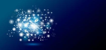 design della tecnologia blockchain con illustrazione vettoriale di copia spazio