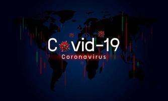 covid-19 o coronavirus influisce sull'illustrazione vettoriale del mercato azionario dell'economia globale