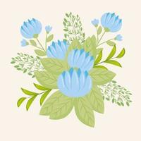 fiori blu con rami e foglie per la decorazione della natura vettore