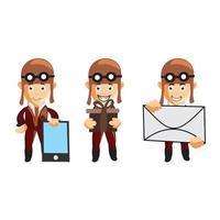 set di illustrazione del personaggio pilota vettore