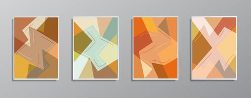set di illustrazioni a colori neutri vintage disegnati a mano minimalisti creativi vettore