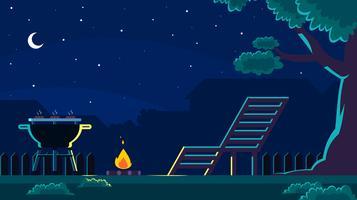 Barbecue nel cortile nel vettore di notte