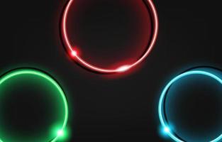 sfondo di lusso cerchio al neon con struttura in metallo 3d astratto. adatto per carta da parati, banner, sfondo, carta, illustrazione di libri, pagina di destinazione, regalo, copertina, volantino, rapporto, affari, social media vettore