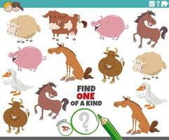 compito unico per i bambini con animali da fattoria dei cartoni animati vettore