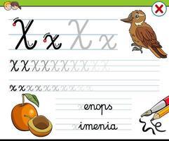 scrivere la lettera x foglio di lavoro per i bambini vettore