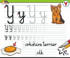 scrivendo il foglio di lavoro della lettera y per i bambini vettore