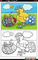cartone animato pulcino di Pasqua covato dalla pagina del libro da colorare uovo vettore