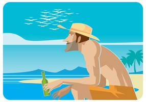Rilassandosi sul vettore della spiaggia