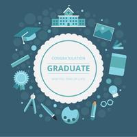 Saluti della carta di graduazione con la cancelleria della scuola o dell'università e strumenti vettore
