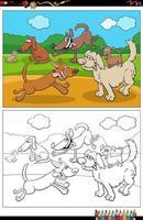 cartone animato divertente cani e cuccioli gruppo pagina del libro da colorare vettore