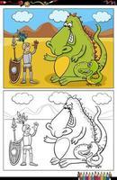 cartone animato cavaliere e draghi da colorare pagina del libro vettore