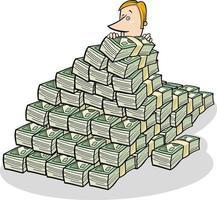 uomo d'affari e grande mucchio di fumetto di concetto di denaro vettore