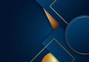 astratto geometrico blu con strisce dorate su sfondo blu scuro, stile di lusso. vettore