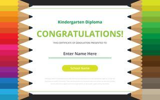 Modello di certificato del diploma di scuola materna vettore