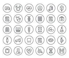 icone mediche e sanitarie, assicurazione, pillole, ambulanza, risonanza magnetica, ecg, borsa iv, analisi del sangue, set di linee.eps vettore