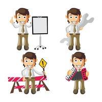 insieme dell'illustrazione del personaggio dei cartoni animati dell'uomo di affari vettore