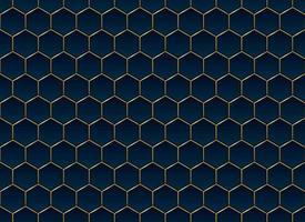 fondo e struttura astratti del modello di esagono blu e oro vettore