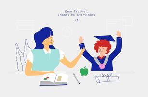 L'insegnante e lo studente celebrano l'illustrazione piana di vettore di giorno degli insegnanti