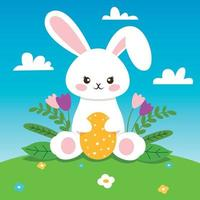 coniglietto di Pasqua con fiori e uovo giallo vettore