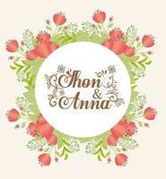biglietto di auguri con ghirlanda floreale per invito a nozze vettore