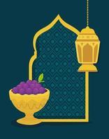 carta di celebrazione di eid al adha con uva in una tazza e lanterna d'oro vettore