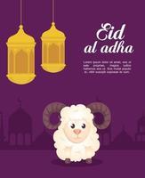 celebrazione di eid al adha mubarak con pecore e lanterne appese vettore