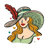 Illustrazione del cappello del Kentucky Derby con bella ragazza
