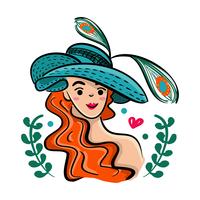 Kentucky Derby Hat con illustrazione di bella ragazza