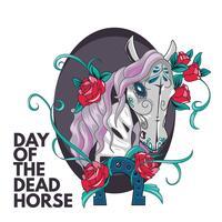 Horse Sugar Skull Illustration Style per il giorno dei morti vettore