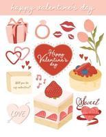 elementi di san valentino carino set vettoriale
