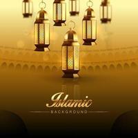 sfondo islamico modello hajj o umrah, banner, flyer, brochure, illustrazione vettoriale di sfondo. biglietto di auguri, modello di poster vuoto.